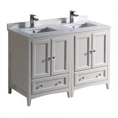 "Oxford 48"" Antique White Double Sink Bathroom Cabinets w/ Top & Sinks"