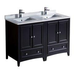 "Oxford 48"" Espresso Double Sink Bathroom Cabinets w/ Top & Sinks"