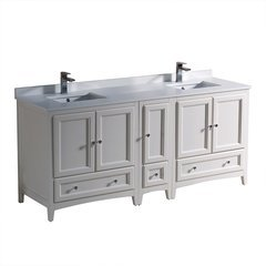 "Oxford 72"" Antique White Double Sink Bathroom Cabinets w/ Top & Sinks"