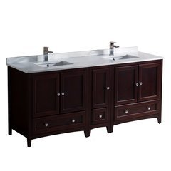 "Oxford 72"" Mahogany Double Sink Bathroom Cabinets w/ Top & Sinks"