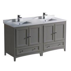 "Oxford 60"" Gray Double Sink Bathroom Cabinets w/ Top & Sinks"