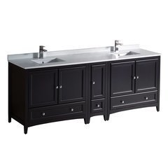 "Oxford 84"" Espresso Double Sink Bathroom Cabinets w/ Top & Sinks"