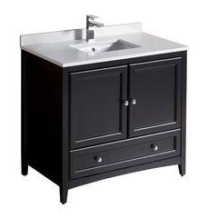 "Oxford 36"" Espresso Traditional Bathroom Cabinet w/ Top & Sink"