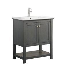 """Manchester Regal 30"""" Gray Wood Veneer Traditional Bathroom Vanity"""