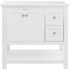 36 Inch Manchester Single Sink Vanity Without Top - White