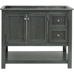 40 Inch Manchester Single Sink Vanity Without Top - Gray Wood Veneer