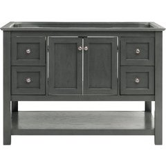 48 Inch Manchester Single Sink Vanity Without Top - Gray Wood Veneer