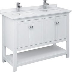 48 Inch Manchester Traditional Double Sink Vanity - White