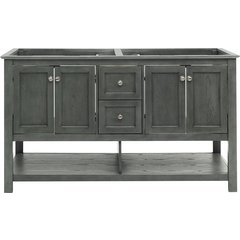 60 Inch Manchester Double Sink Vanity Without Top - Gray Wood Veneer