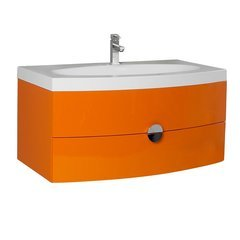 "Energia 36"" Orange Modern Bathroom Cabinet w/ Integrated Sink"
