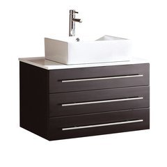 "Modello 32"" Espresso Modern Bathroom Cabinet w/ Top & Vessel Sink"