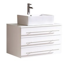 "Modello 32"" White Modern Bathroom Cabinet w/ Top & Vessel Sink"