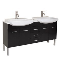 "Vetta 60"" Espresso Modern Double Sink Bathroom Vanity w/ Sinks"