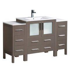 "Torino 54"" Gray Oak Modern Bathroom Cabinets w/ Integrated Sink"