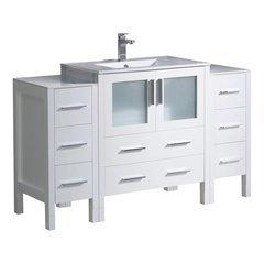 "Torino 54"" White Modern Bathroom Cabinets w/ Integrated Sink"