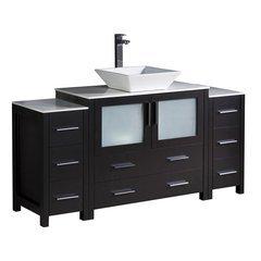 "Torino 60"" Espresso Modern Bathroom Cabinets w/ Top & Vessel Sink"