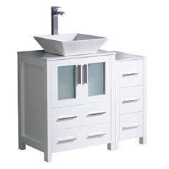 "Torino 36"" White Modern Bathroom Cabinets w/ Top & Vessel Sink"