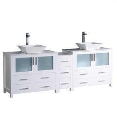 """Torino 84"""" White Modern Double Sink Bathroom Cabinets w/ Tops & Vessel Sinks"""