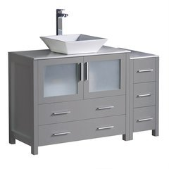 "Torino 48"" Gray Modern Bathroom Cabinets w/ Top & Vessel Sink"