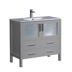 "Torino 36"" Gray Modern Bathroom Cabinet w/ Integrated Sink"