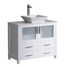 "Torino 36"" White Modern Bathroom Cabinet w/ Top & Vessel Sink"