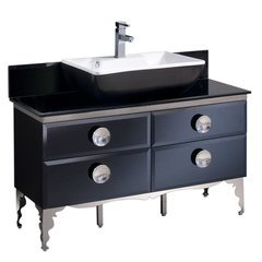 "Moselle 47"" Modern Glass Bathroom Cabinet w/ Top & Vessel Sink"