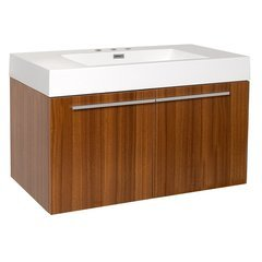 "Vista 36"" Teak Modern Bathroom Cabinet w/ Integrated Sink"