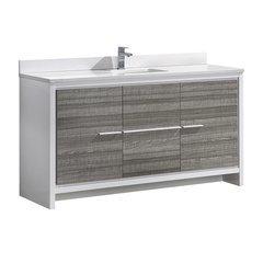 "Allier Rio 60"" Ash Gray Single Sink Modern Bathroom Vanity w/ Top & Sink"