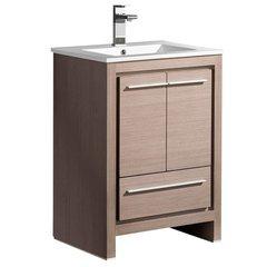 """Allier 24"""" Gray Oak Modern Bathroom Cabinet w/ Sink"""