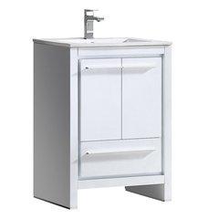 """Allier 24"""" White Modern Bathroom Cabinet w/ Sink"""