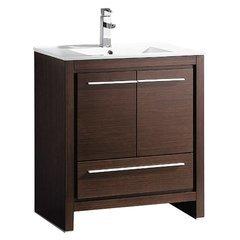 """Allier 30"""" Wenge Brown Modern Bathroom Cabinet w/ Sink"""