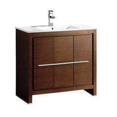 """Allier 36"""" Wenge Brown Modern Bathroom Cabinet w/ Sink"""