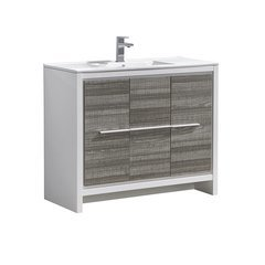 """Allier Rio 40"""" Ash Gray Modern Bathroom Cabinet w/ Sink"""