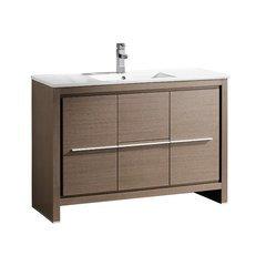 """Allier 48"""" Gray Oak Modern Bathroom Cabinet w/ Sink"""