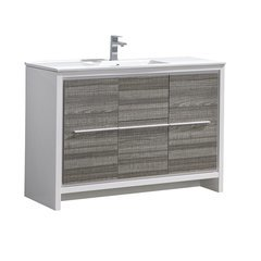 "Allier Rio 48"" Ash Gray Single Sink Modern Bathroom Cabinet w/ Sink"