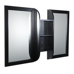"Bellezza 54"" Espresso Mirrors with Shelf Combination"