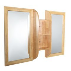 "Bellezza 54"" Natural Wood Mirrors with Shelf Combination"
