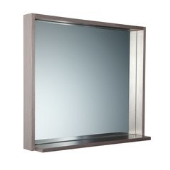 "Allier 30"" Gray Oak Mirror with Shelf"