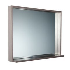 "Allier 36"" Gray Oak Mirror with Shelf"