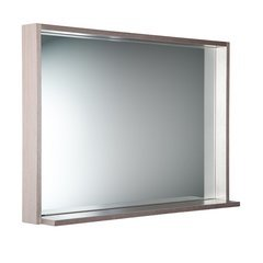 "Allier 40"" Gray Oak Mirror with Shelf"