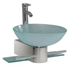 "Vetro 18"" Modern Glass Bathroom Vanity - Frosted Vessel Sink"