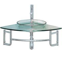 "Vetro 24"" Corner Mount Modern Glass Bathroom Vanity"