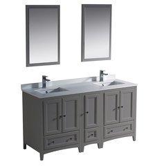 "Oxford 60"" Gray Traditional Double Sink Bathroom Vanity"