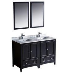"""Oxford 48"""" Espresso Traditional Double Sink Bathroom Vanity"""