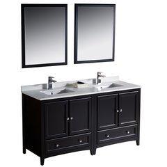 """Oxford 60"""" Espresso Traditional Double Sink Bathroom Vanity"""