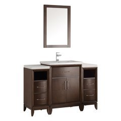 "Cambridge 48"" Antique Coffee Traditional Bathroom Vanity w/ Mirror"