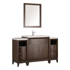 "Cambridge 54"" Antique Coffee Traditional Bathroom Vanity w/ Mirror"