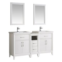 "Cambridge 60"" White Double Sink Traditional Bathroom Vanity w/ Mirrors"