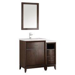 """Cambridge 36"""" Antique Coffee Traditional Bathroom Vanity w/ Mirror"""