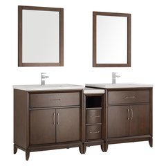 "Cambridge 72"" Antique Coffee Double Sink Traditional Bathroom Vanity w/ Mirrors"
